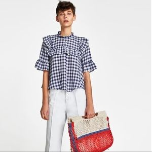 Zara Ruffled Gingham Blouse